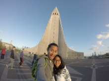 In front of the Hallgrimur church